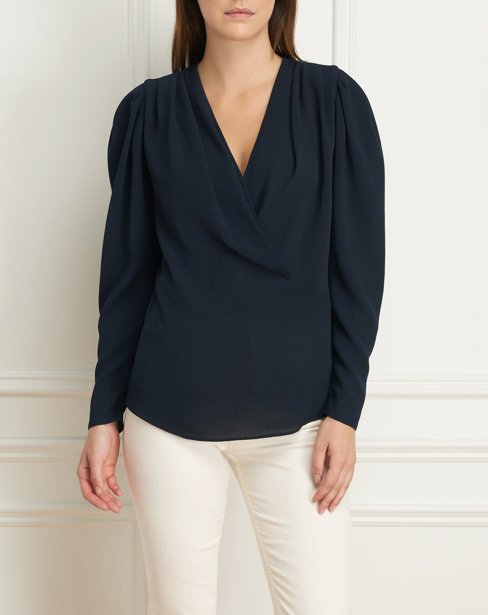 Long sleeves wrap blouse