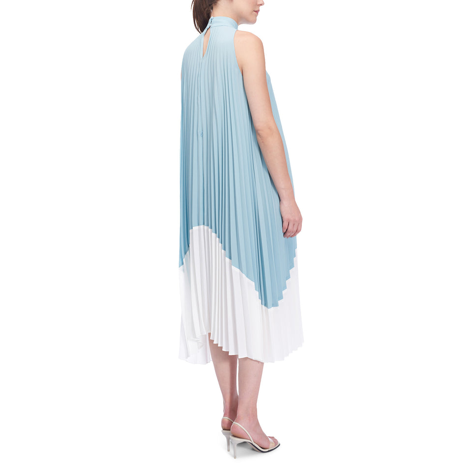Soft Crinkle Color Block Pleated Dress