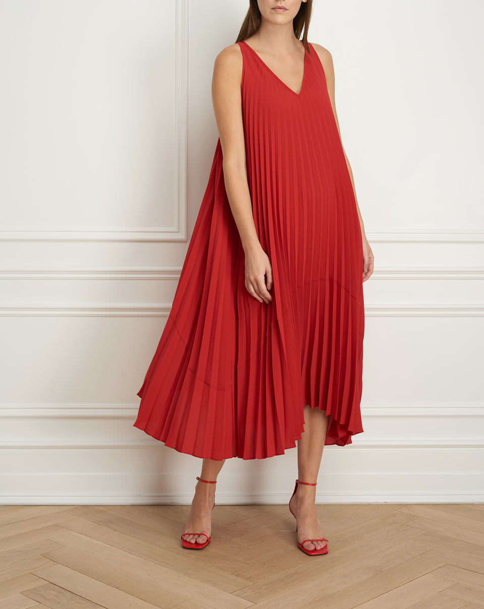 Pleated reversible maxi dress