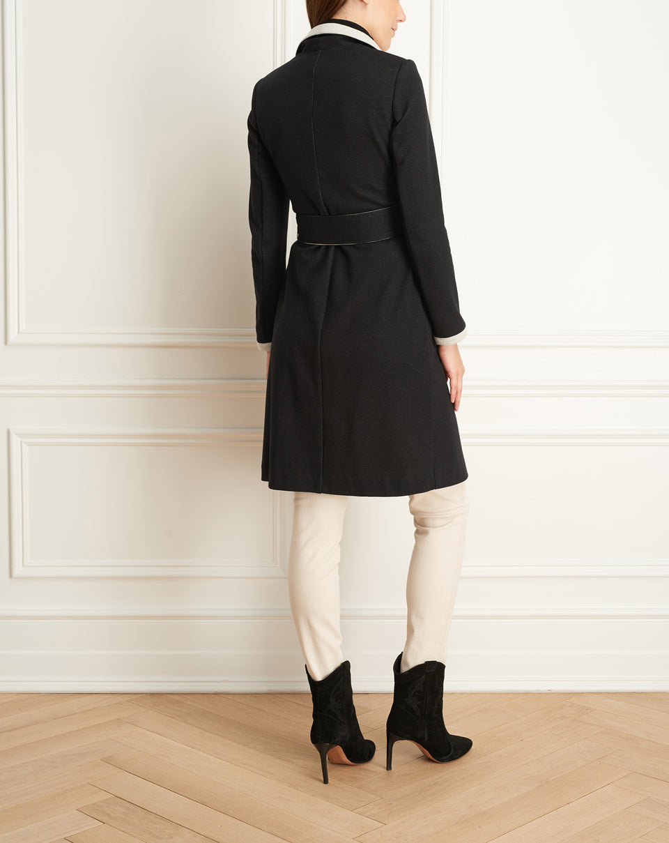 Double Face Long Jacket With Pockets And Belt