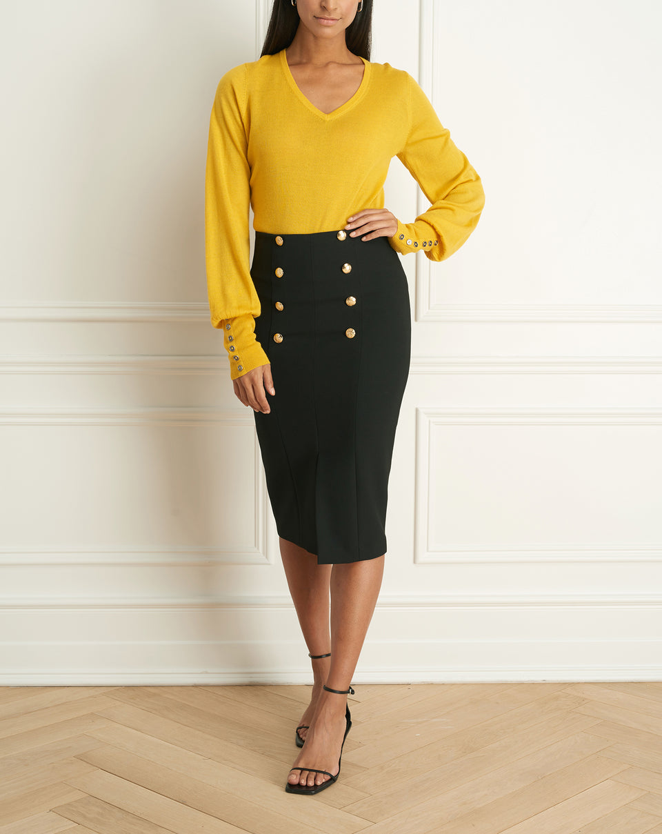 Colette Pencil Skirt Wth Button
