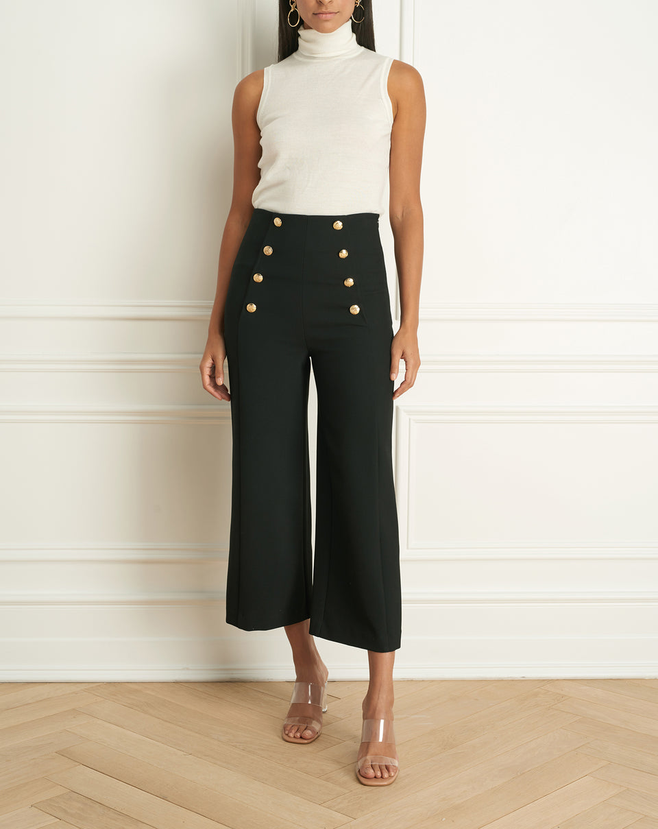 Colette Wide Leg Pant Wth Button Detail