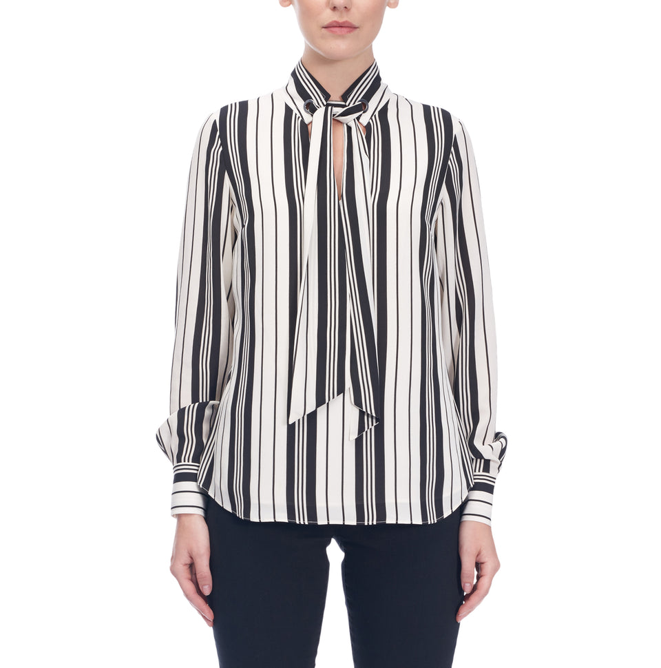 Striped Blouse Wth Scarf