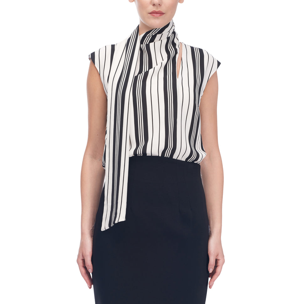 Striped Sleeveless Blouse Wth Scarf