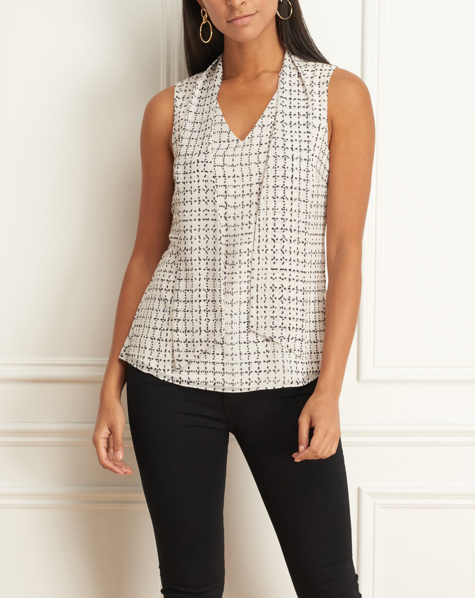 Sleeveless Top With Detachable Scarf