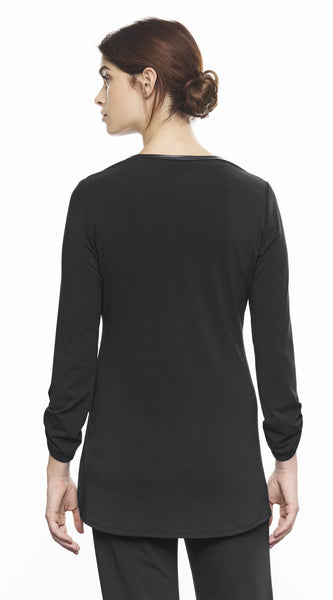 V-Neck Top With 3/4 Sleeve And Leather Detail