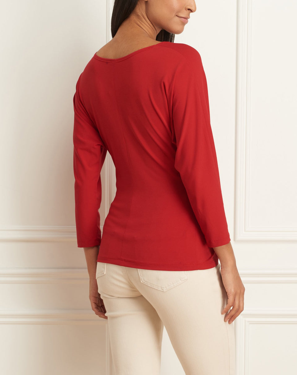 Matte Jersey Long Sleeves Knotted Top