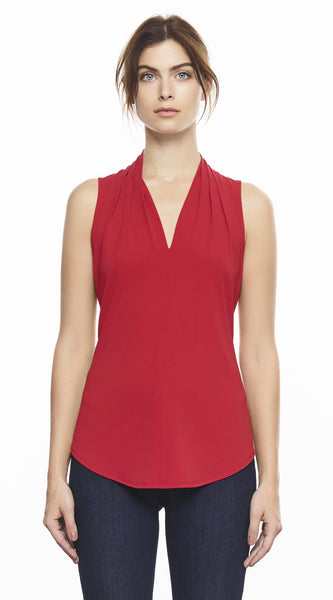 Sleeveless High Collar Pleated V Neck Top