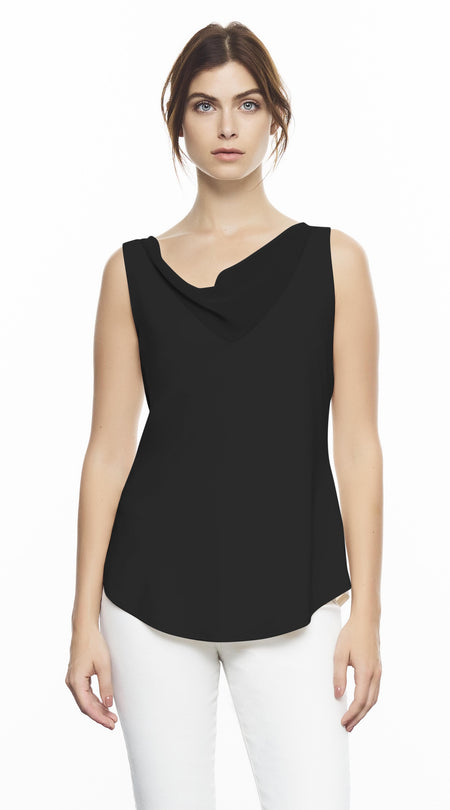 Sleeveless Cami With Black Leather Shoulder Straps