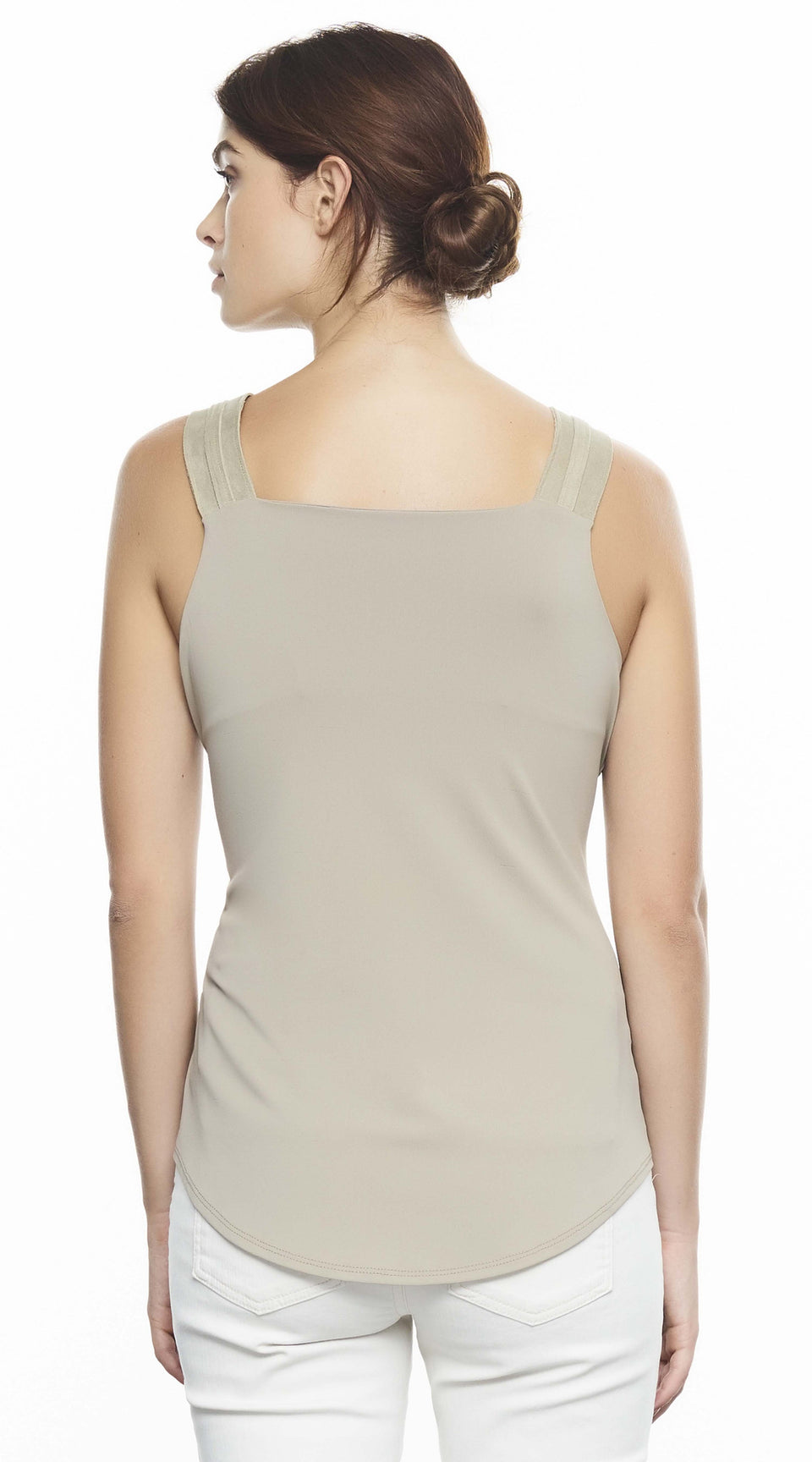 Sleeveless V-Neck Top With Suede Straps