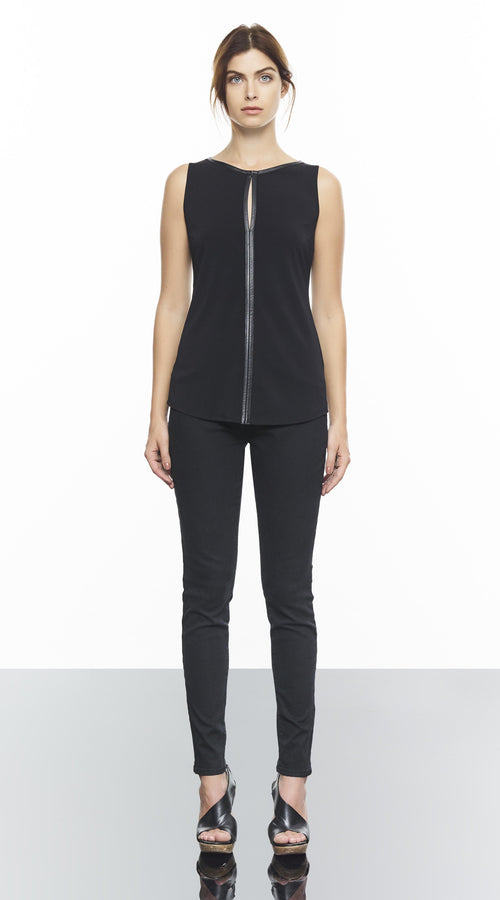 Sleeveless Round Neck Top With Leather Piping