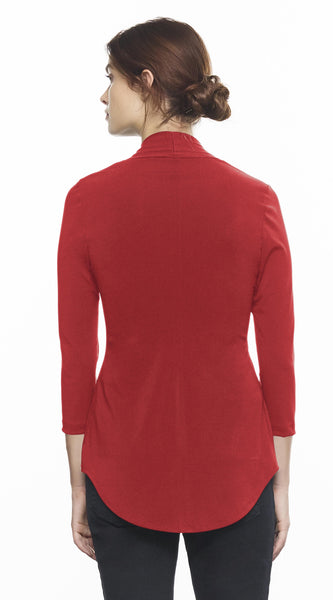 3/4 Sleeves High Collar Pleated V Neck Top