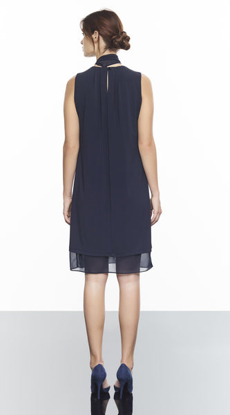 A-Line Dress With Detachable Chiffon Scarf And Chiffon Hem