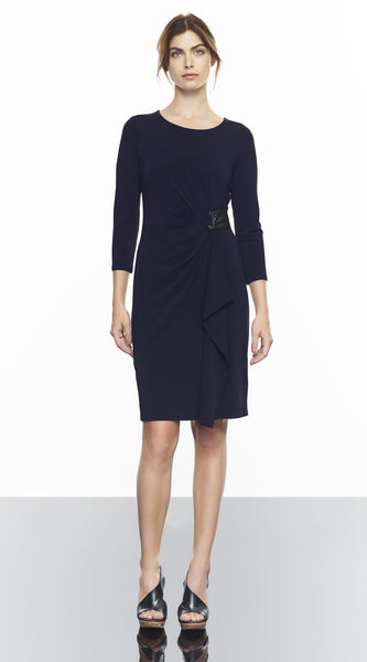 Rouched 3/4 Sleeve Dress With Leather Detail
