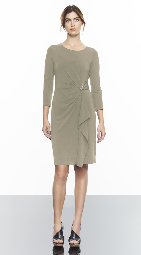 Rouched 3/4 Sleeve Dress With Suede Detail