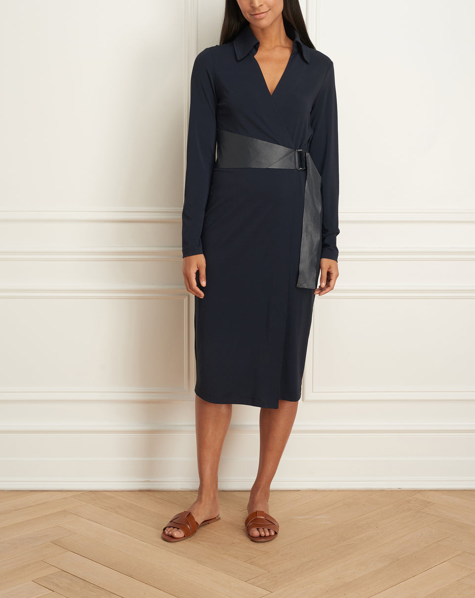 Wrap Dress Wth Side Leather Belt