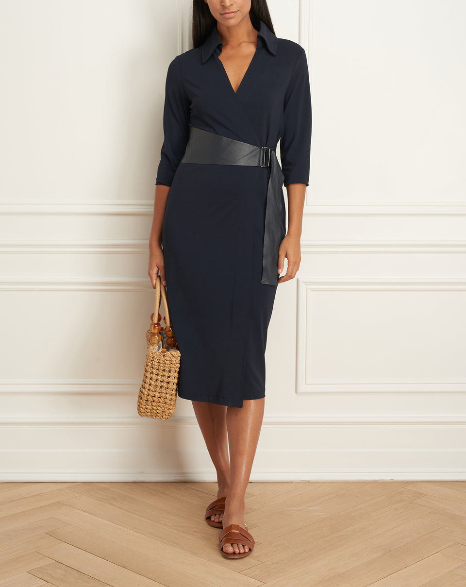 Wrap Dress With Side Leather Belt