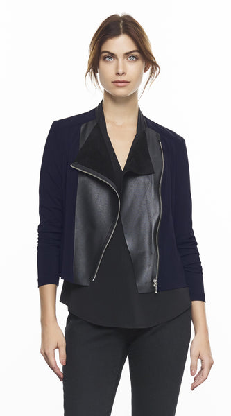 Short Jacket With Front Leather Detail