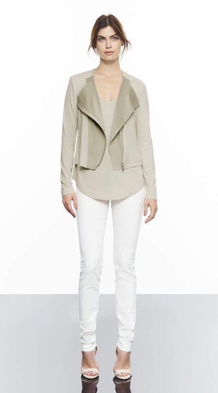 Jacket With 3/4 Sleeve And Suede Detail Eyelette
