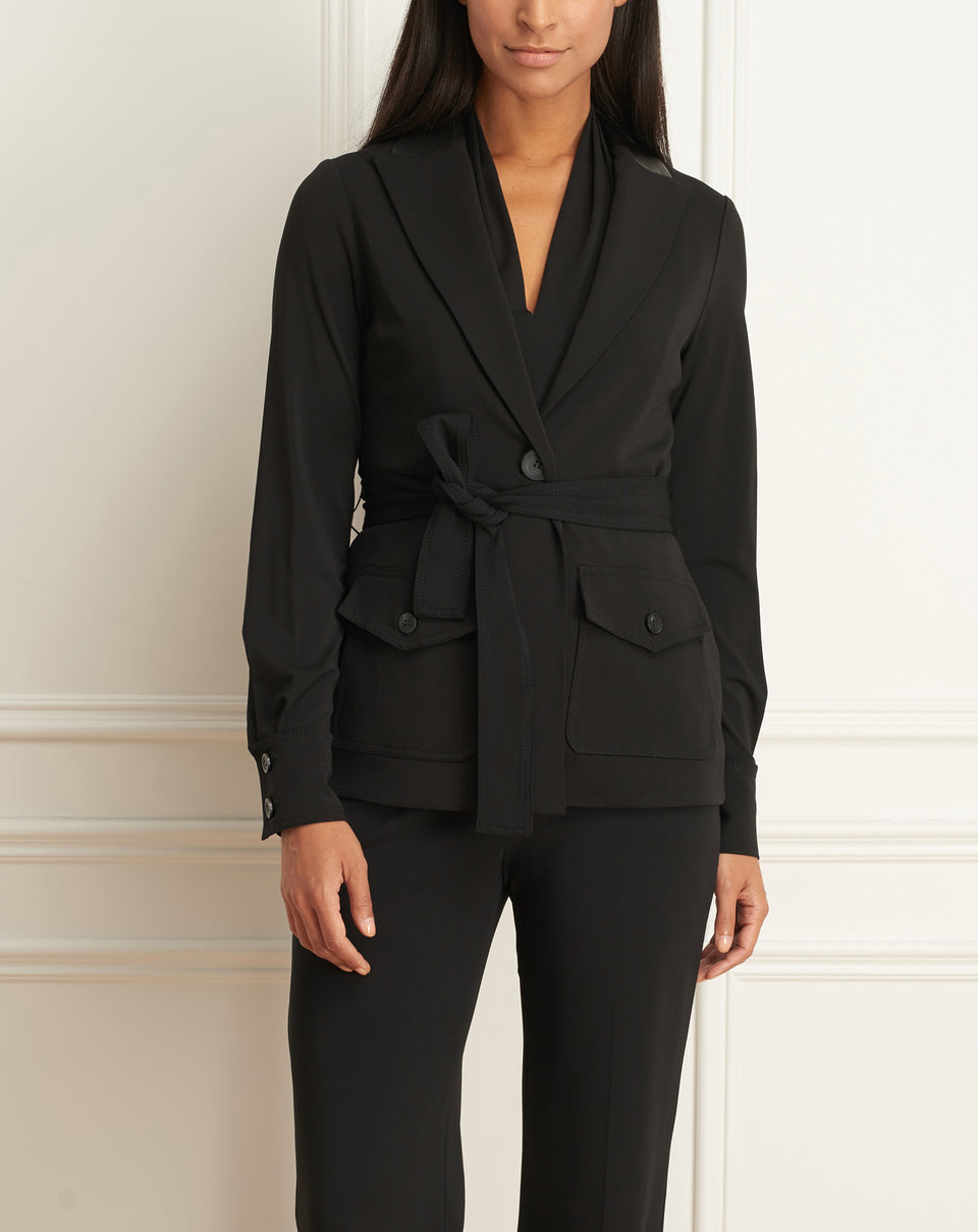 Matte Jersey Jacket With Belt And Leather Detail