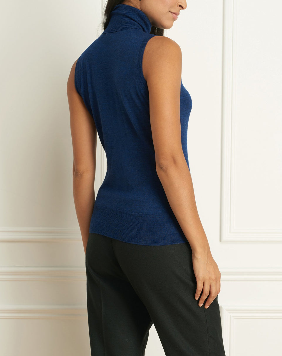 Merino Blend Sleeveless Turtleneck