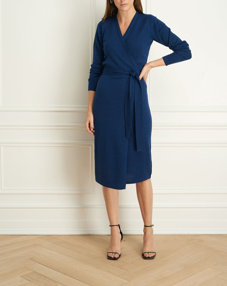 Merino Blend Wrap Dress