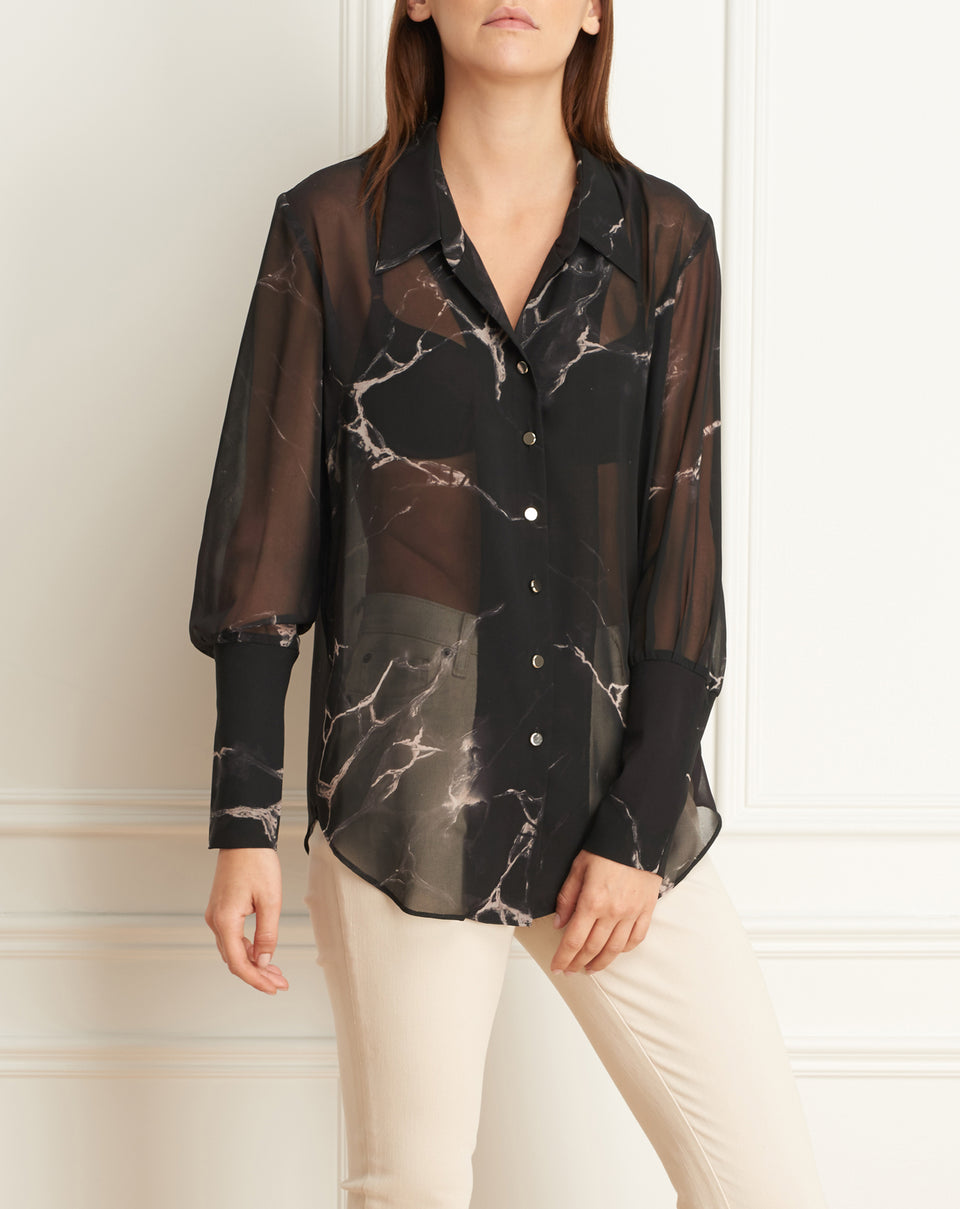 Marble Print Long Sleeves Blouse