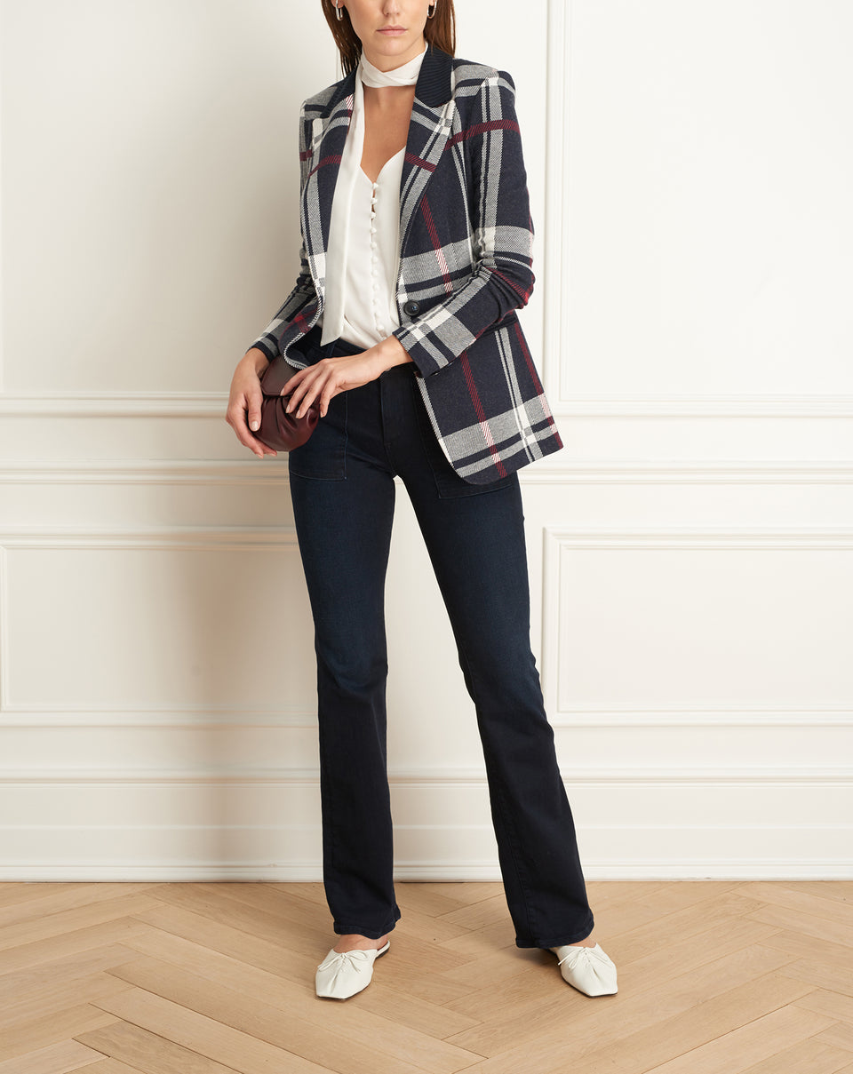 Plaid Single Button Jacket