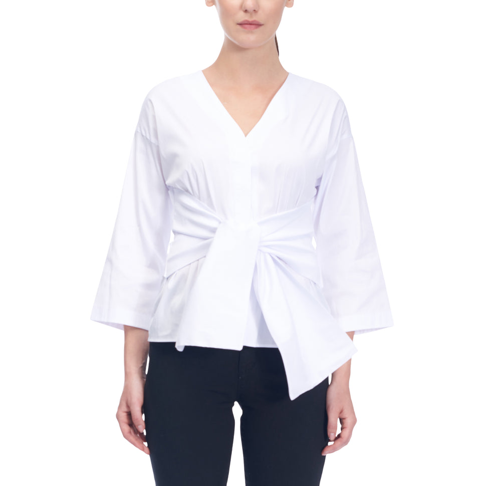Blouse With Knotted Waist