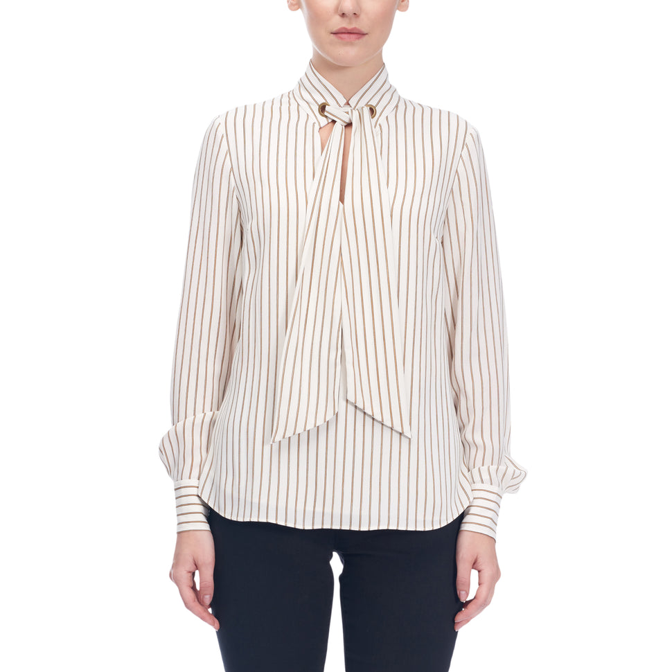 Pin Stripe Blouse With Tie