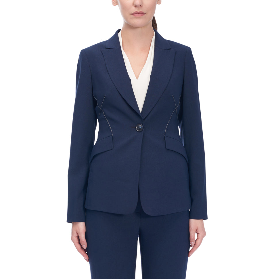 Single Button Jacket Wth Contrasting Topstitch
