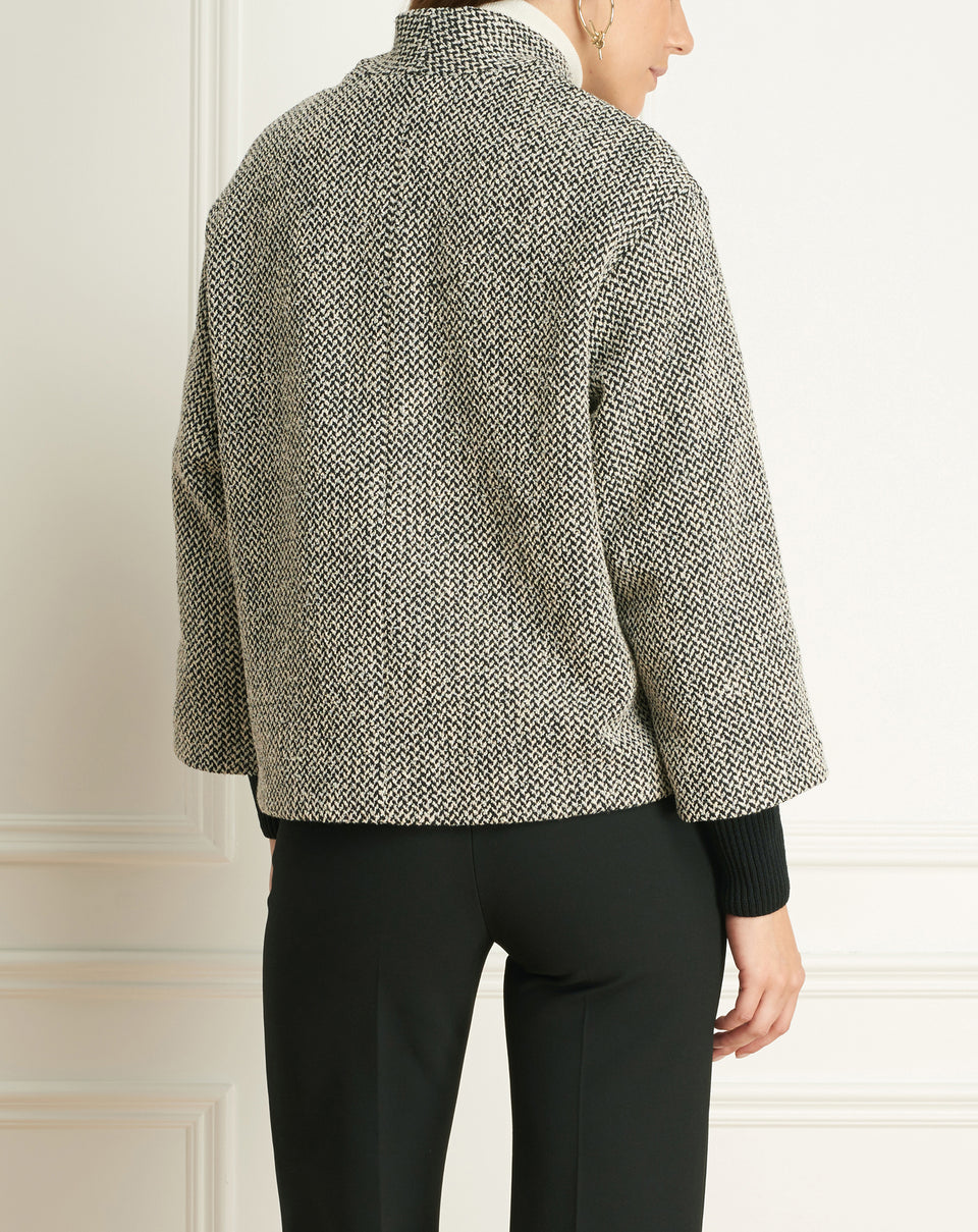 Tweed Single Button Short Jacket
