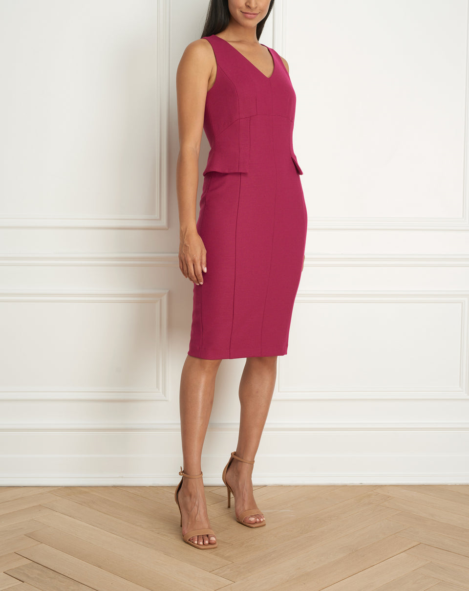 2 Tone Stretch Dress  With Side Peplum
