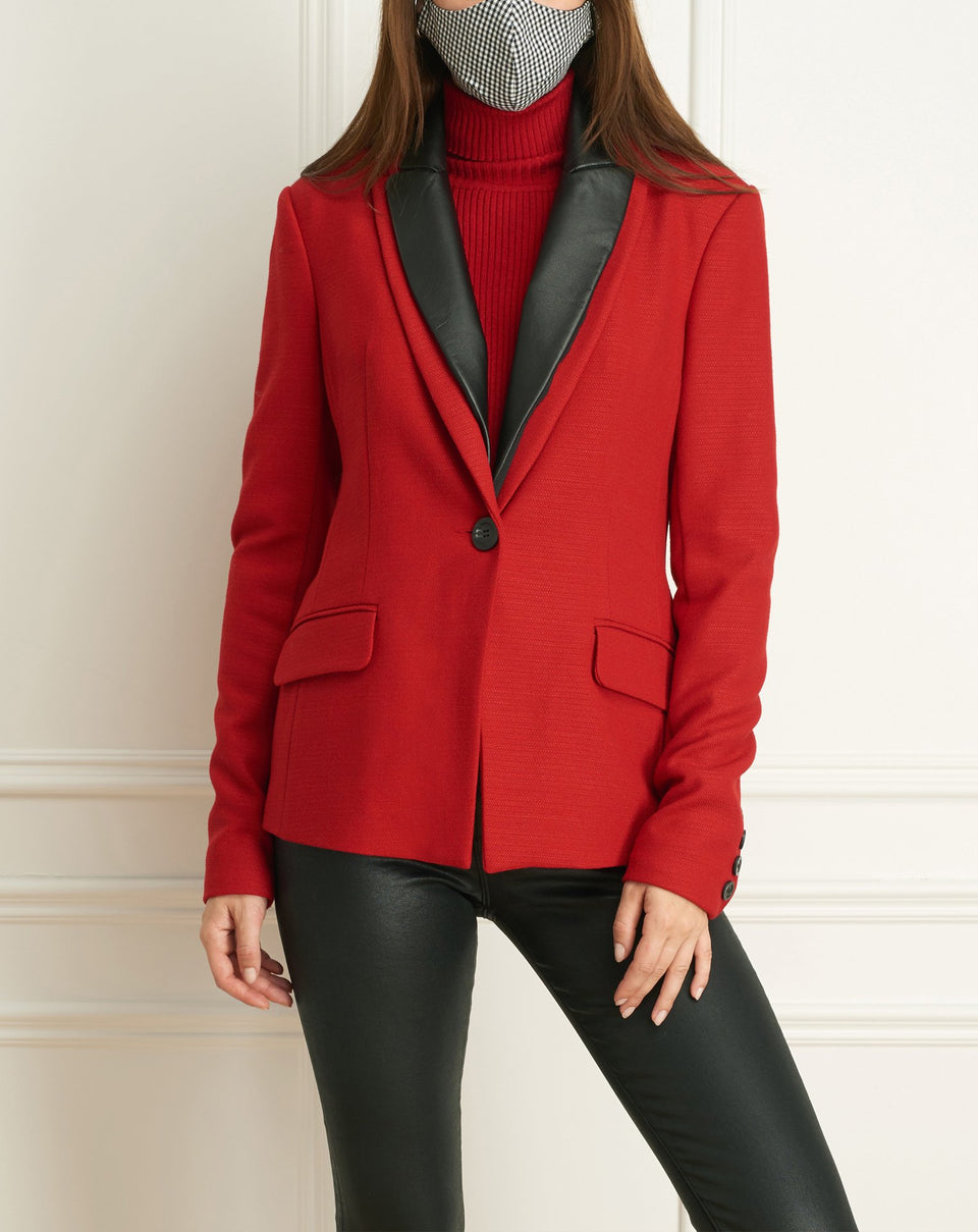 2 Tone Stretch Jacket With Leather Collar