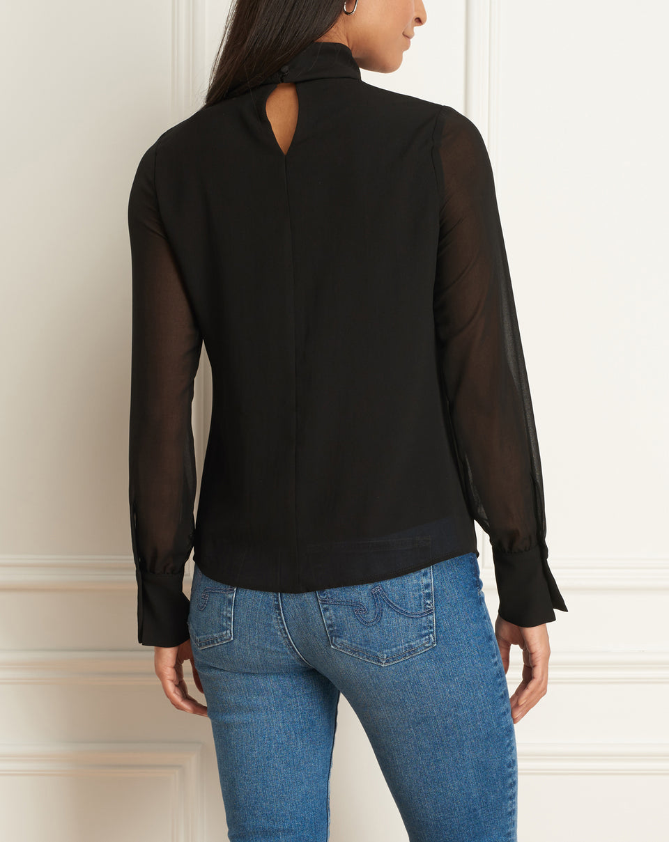 Chiffon Blouse Wth Mock Neck