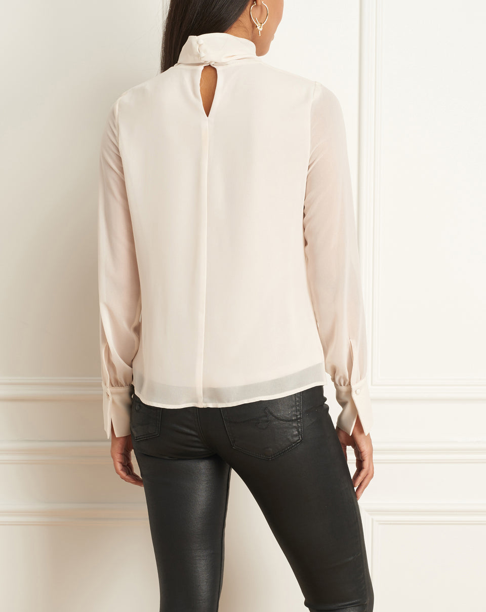Chiffon Blouse With Mock Neck