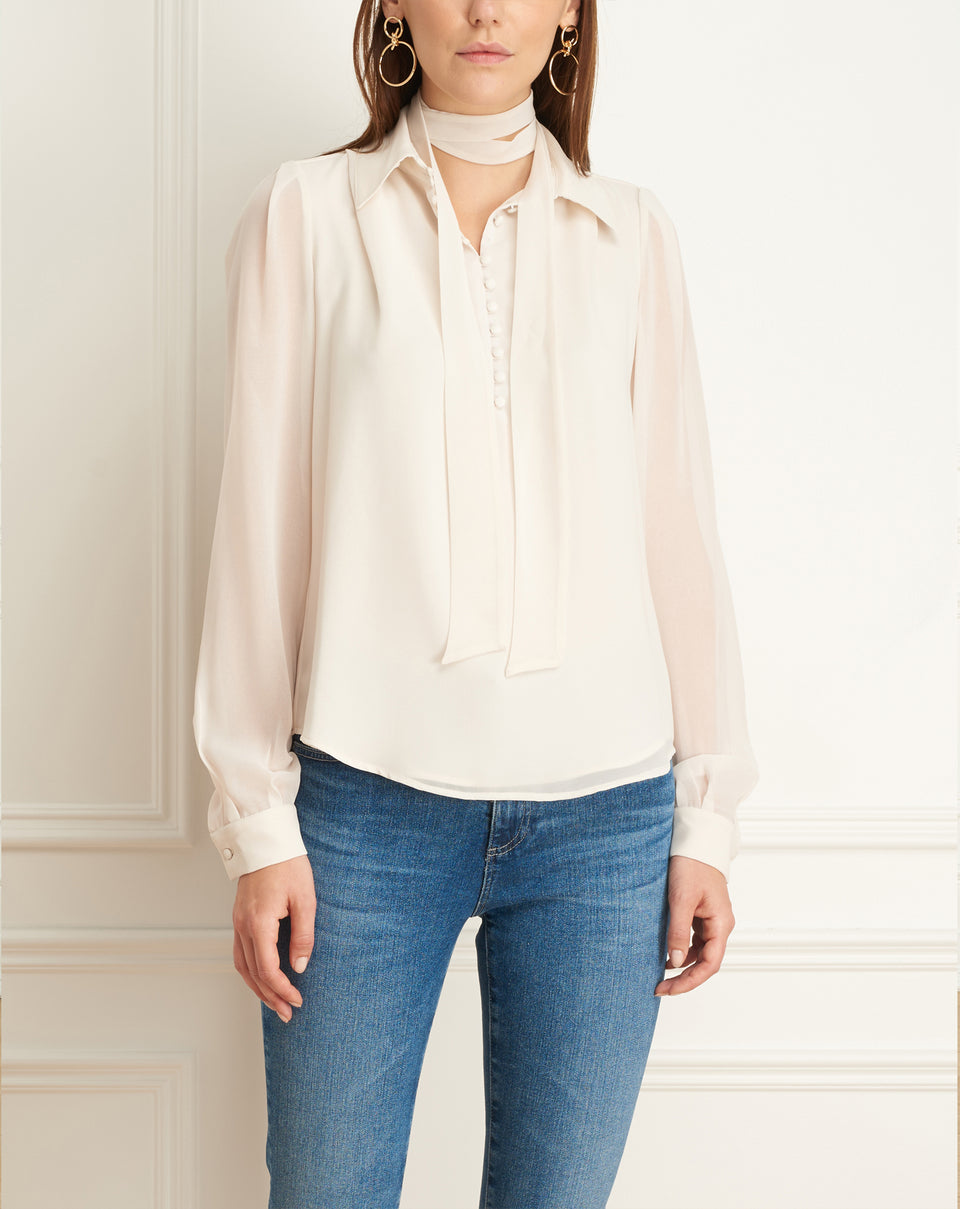 Chiffon Blouse Wth Buttons And Scarf