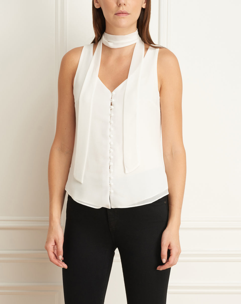 Sleeveless Chiffon Blouse With Buttons And Scarf