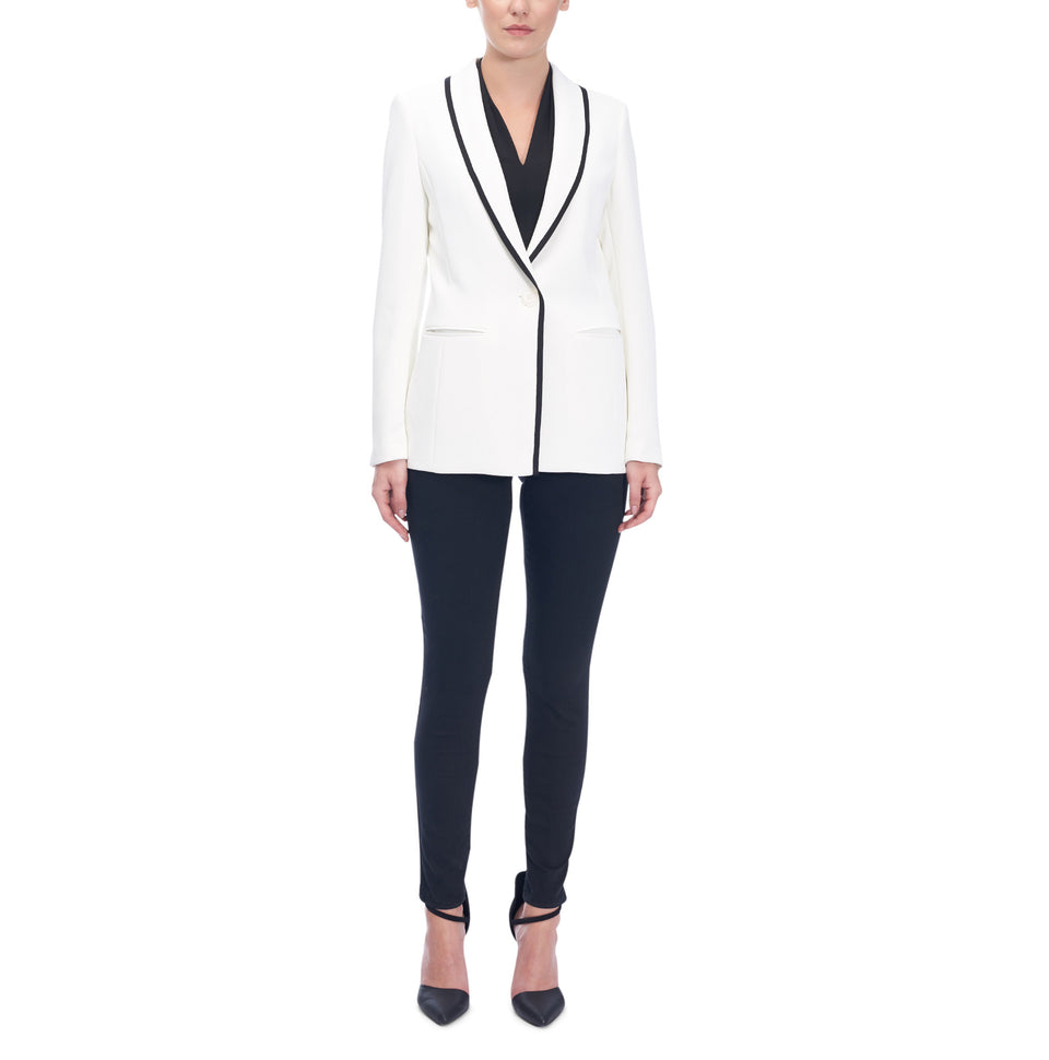 Single Button Jacket Wth Contrasting Detail
