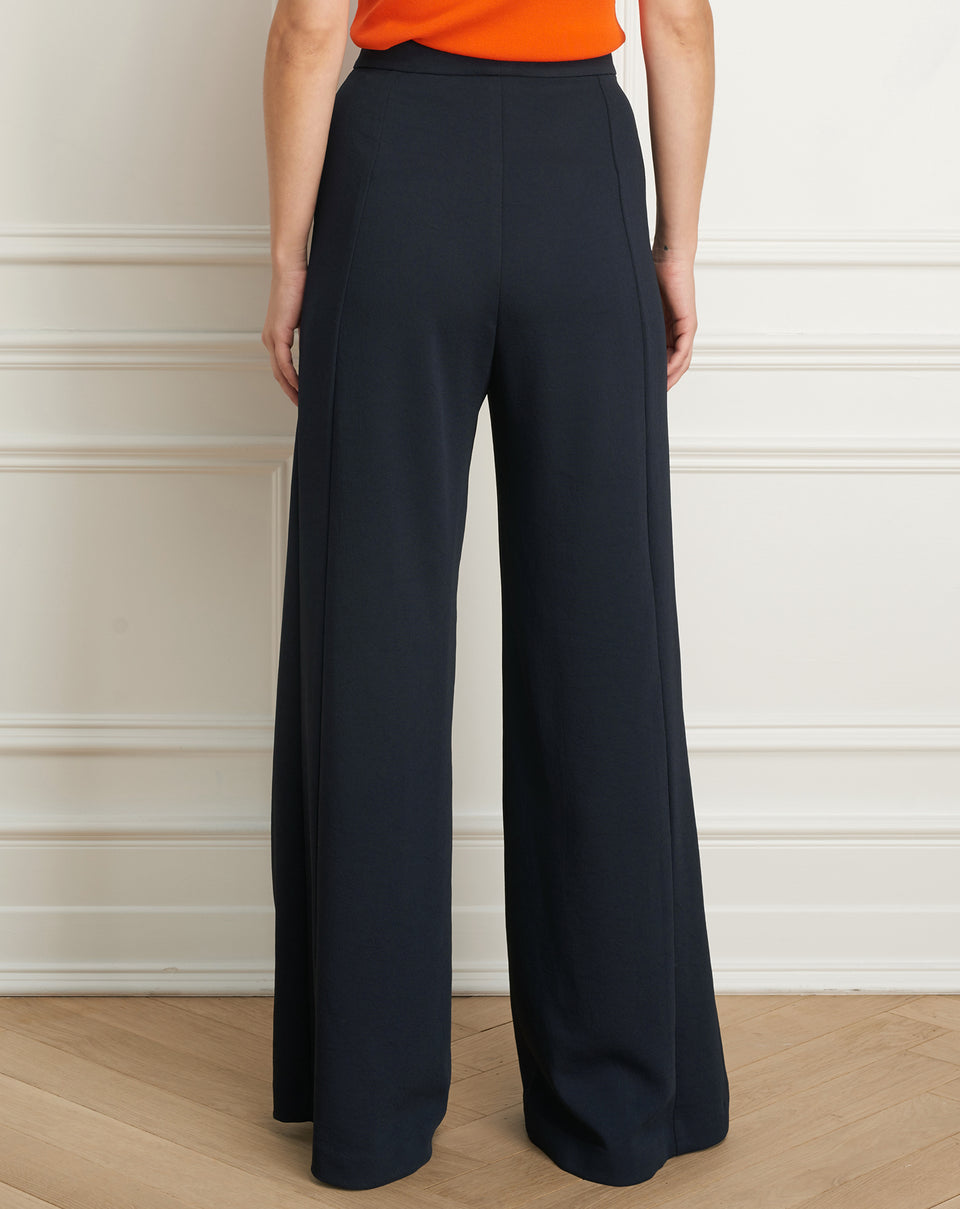 Wide leg pant with button detail
