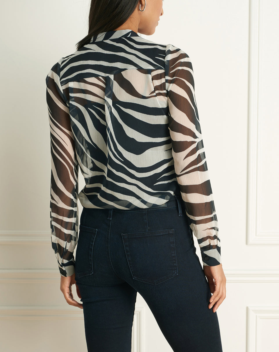 Zebra Print Long Sleeves Blouse