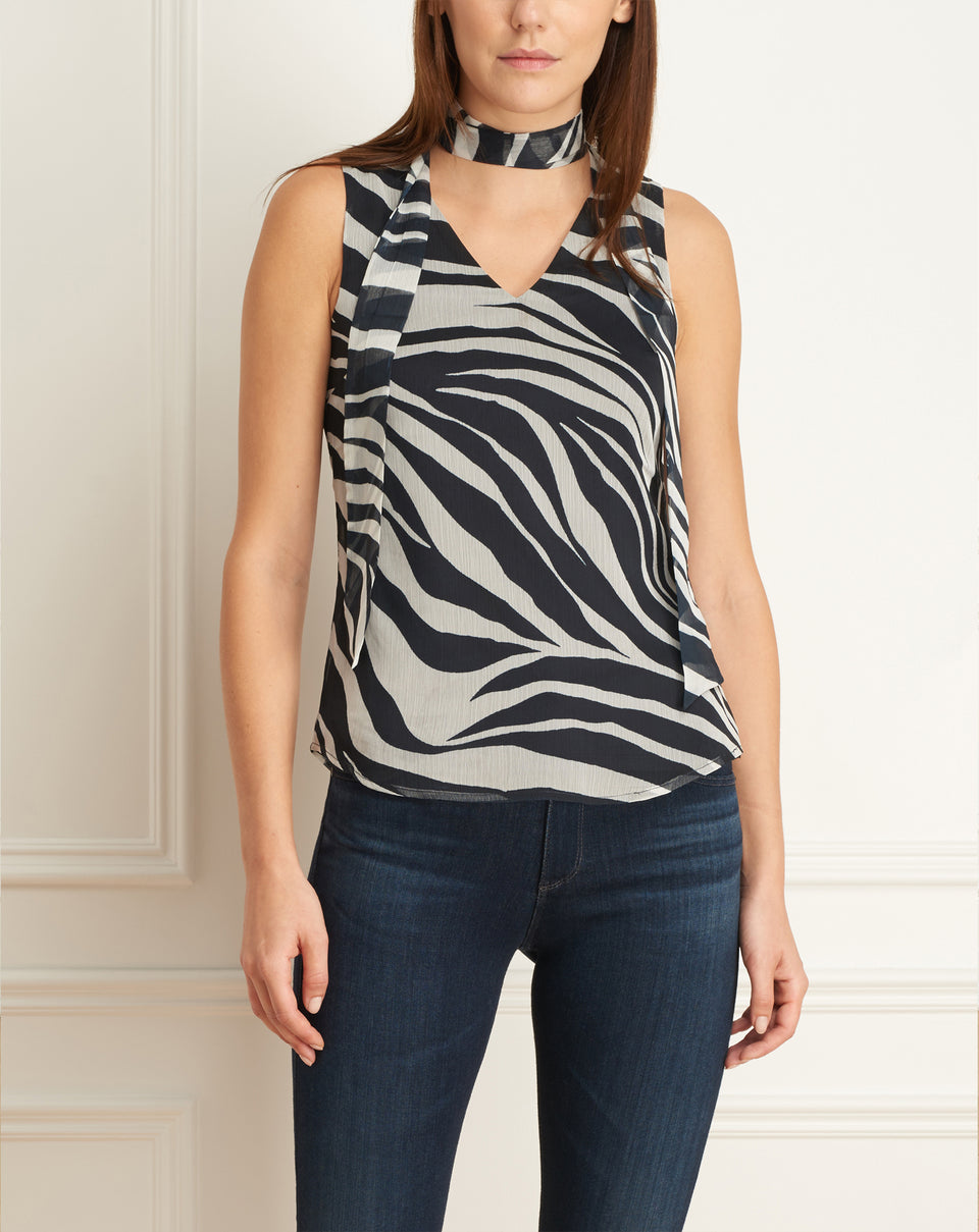 Zebra Print Sleeveless Blouse With Scarf
