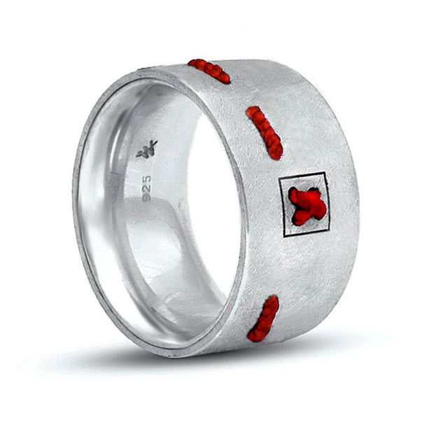 Ring NO STRESS mit rotem Faden 925 Silber - X-Design