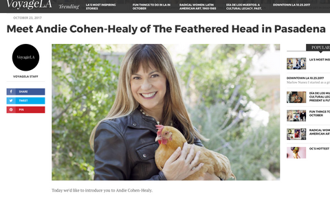 VoyageLA Andie Cohen Healy The Feathered Head Pasadena Los Angeles LA's Most Inspiring Stories
