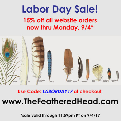 Labor Day FLASH Sale 15% off all website orders on TheFeatheredHead.com!