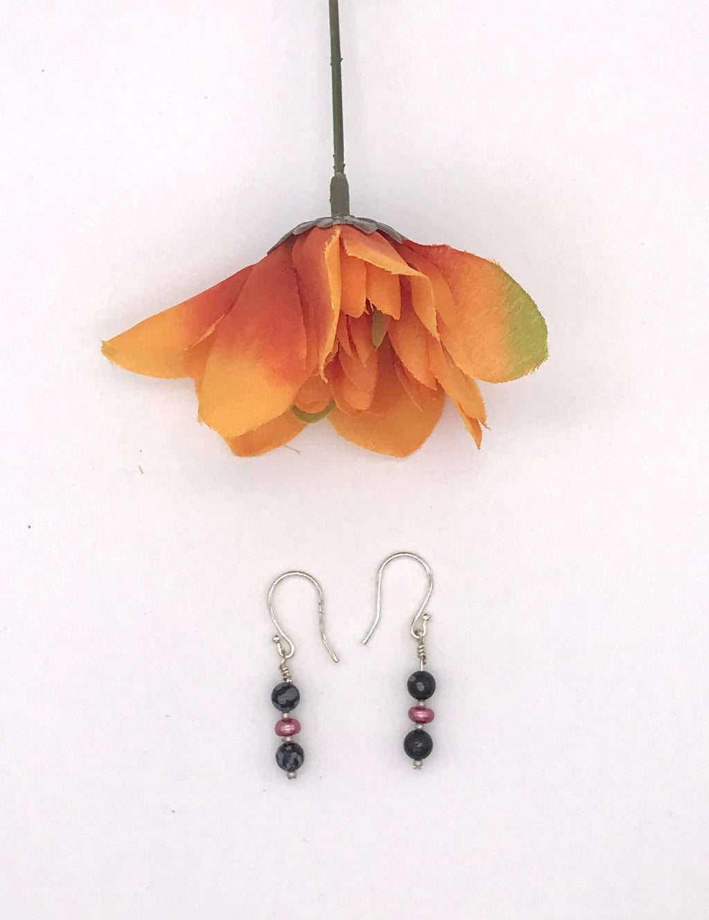 Black and Gray Jasper Drop Earrings