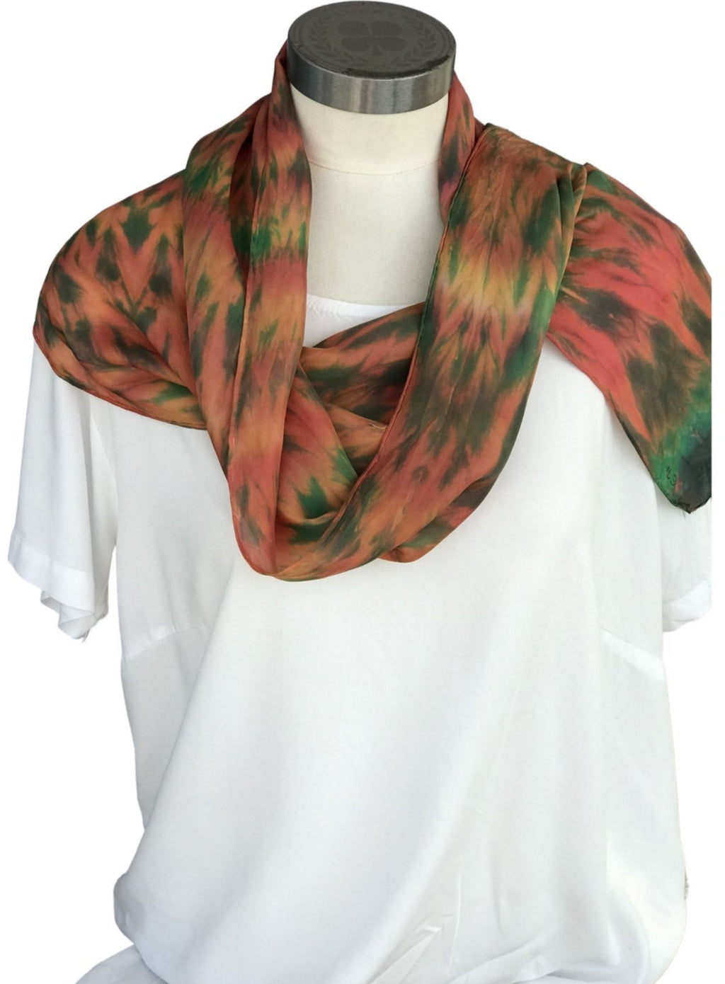 Coral, Orange and Green Silk Scarf