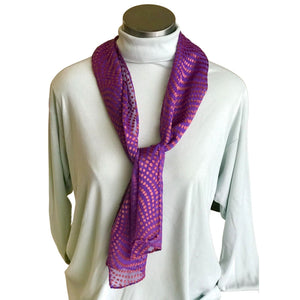 Deep Purple and Bronze Dotted Devore Scarf