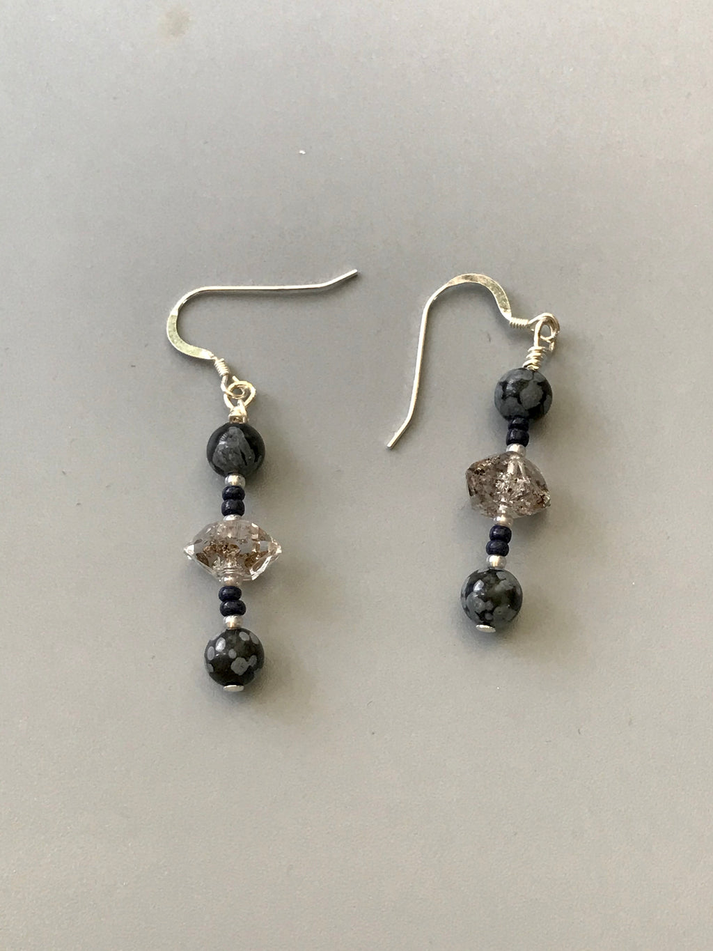 Herkimer Diamond and Jasper Earrings