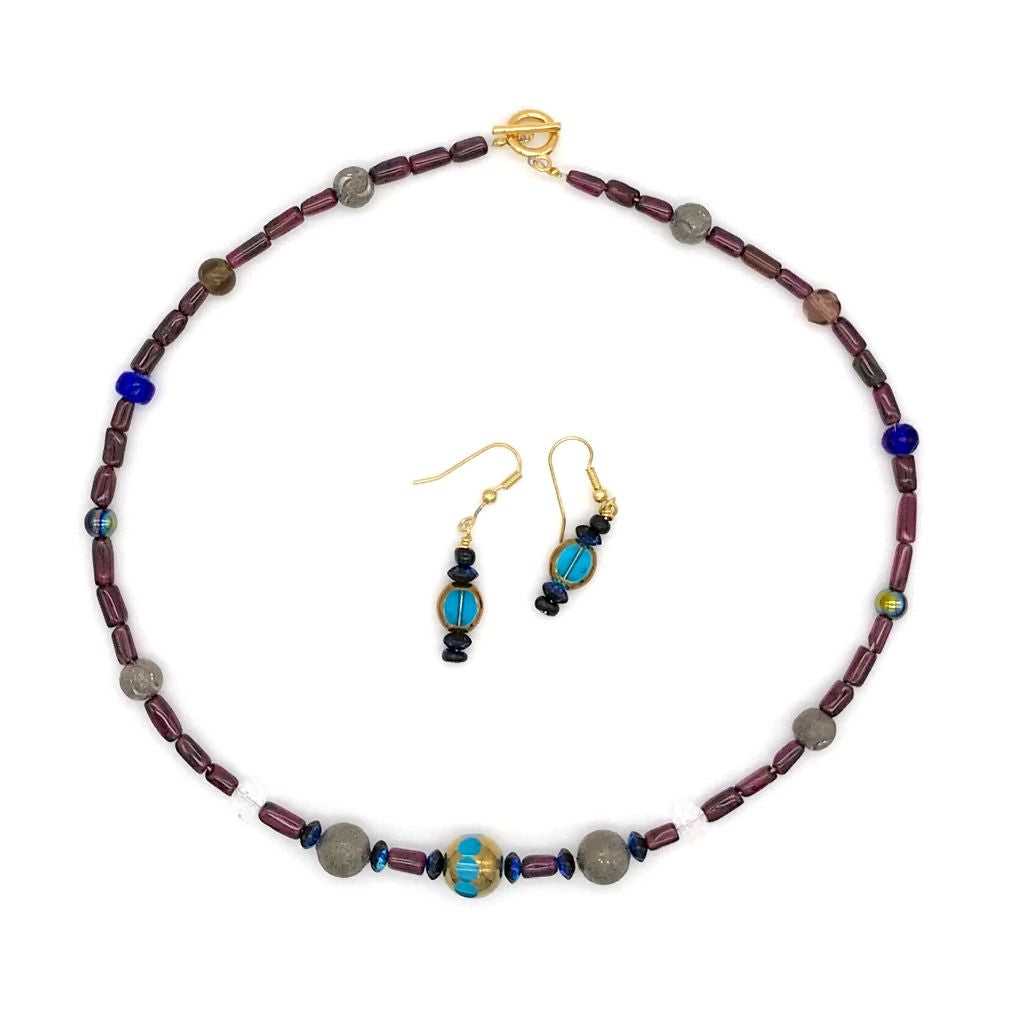 Multi-Color Bead Necklace with Matching Earrings
